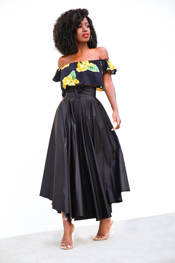 d8f06452c06 Style Pantry | Floral Off Shoulder Crop + Belted Swing Midi Skirt