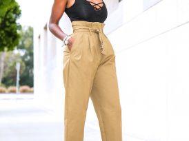 Laced Sleeveless Bodysuit + High Waist Khaki Pants