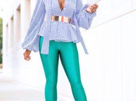 Gingham Neck Tie Blouse + Front Slit Pants