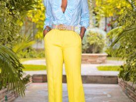 Ruffled Silk Button Down + High Waist Wide Legs