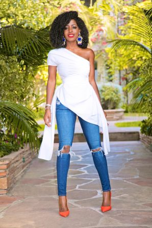 Draped One Shoulder Top + Knee Ripped Jeans