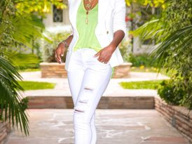 Fitted White Blazer + Tank + Ripped White Jeans