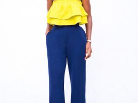 Frill Crop Top + High Waist Wide Leg Pants