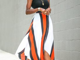 Tank + Stripe Handkerchief Hem Midi Skirt