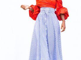 Off Shoulder Blouse + Gingham Belted Midi Skirt