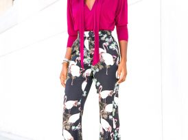 Padded Shoulder Blouse + High Waist Flare Pants