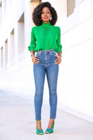 Frill Neck Blouse + High Waist Jeans