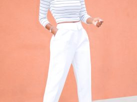 Ribbed Striped Top + Folded Waist Band Trousers