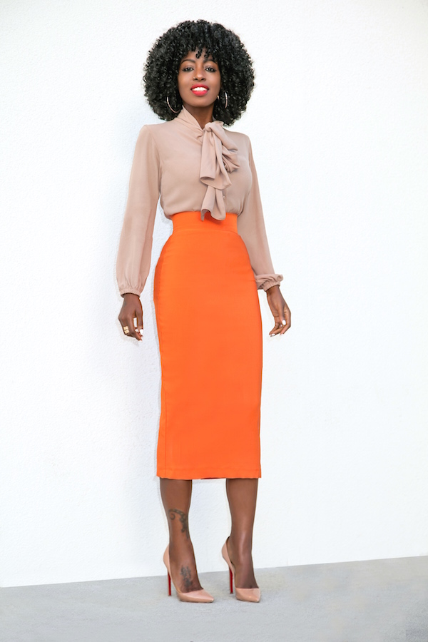 style pantry front tie blouse pencil midi skirt