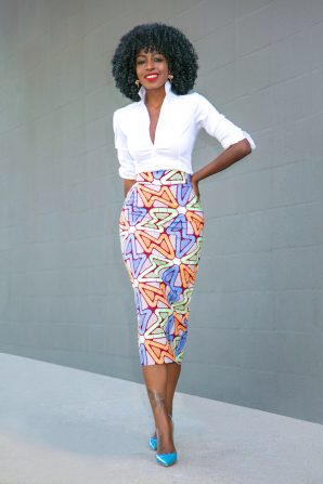 Fitted Button Down + Custom Print Pencil Skirt
