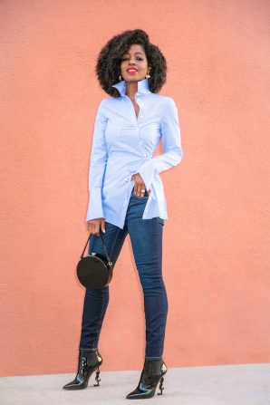 Asymmetric Button Down Shirt + Ankle Length Jeans