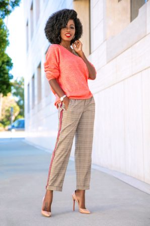 Off Shoulder Knit + Checked Tuxedo Trousers