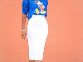 Mickey Mouse Sweatshirt + Pencil Midi Skirt