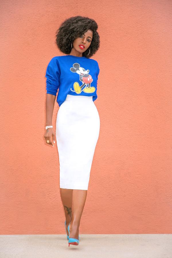 style pantry mickey mouse sweatshirt pencil midi skirt