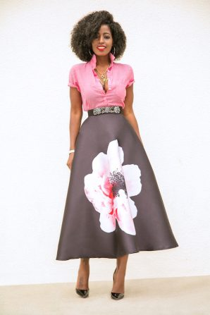Short Sleeve Button Down + Hibiscus Print Mid Skirt