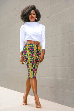 Roll Neck Blouse + Print Pencil Skirt