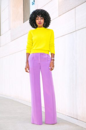 Neon Crew Neck Sweater + Lilac Wide Leg Pants