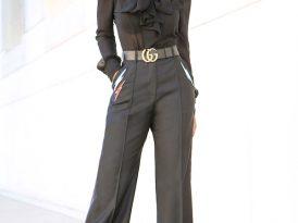 Tie Front Blouse + Tuxedo Ankle Length Pants