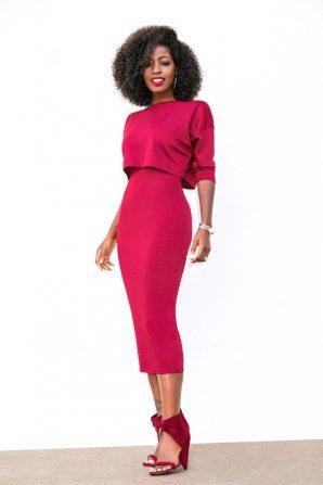 Burgundy Combo Crop Top Dress