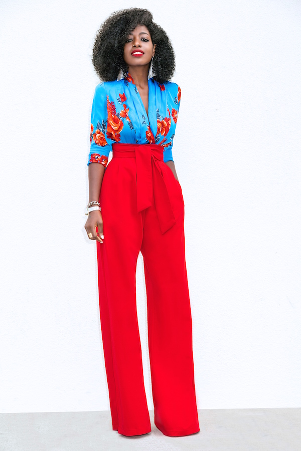 Floral Bodysuit + High Waist Belted Pants.... : Style ...