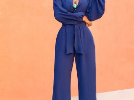 Navy Bell Sleeve Wide Leg Jumpsuit
