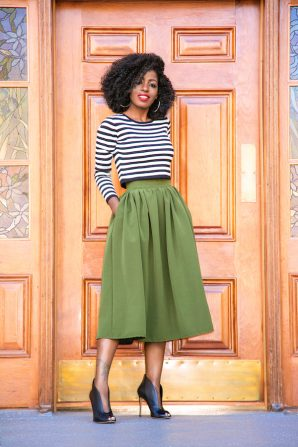 Striped Crop Top + Gathered Midi Skirt