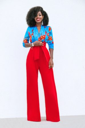 Floral Bodysuit + High Waist Belted Pants