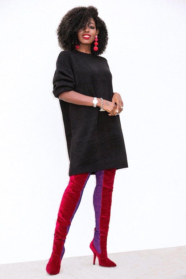 Style Pantry Oversized Sweater Dress Over The Knee Boots
