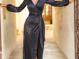 Sparkly Sequin Wrap Maxi Dress