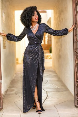 Sparkly Sequin Wrap Maxi Dress