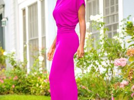 Drape Maxi Dress w/Side Slit