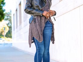 Puff Sleeve Leather Jacket + Handkerchief Tee + Amo Twist Jeans