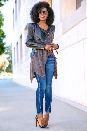 Puff Sleeve Leather Jacket + Handkerchief Tee + Amo Twist Jeans