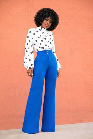 Polka Dot Tie Front Blouse + High Waist Wide Legs