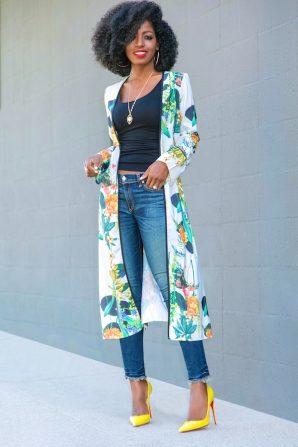 Print Kimono Duster + Tank + Ankle Length Jeans