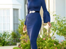 Navy Midi Dress w/Frill Sleeves