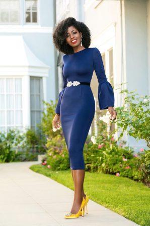 Navy Midi Dress w/Frill Sleeves