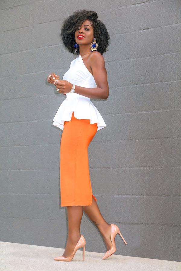 style pantry one shoulder peplum top pencil midi skirt