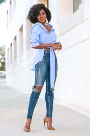 Wrap Off Shoulder Shirt + Ripped Skinny Jeans