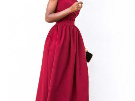 One Shoulder Draped Midi Dress