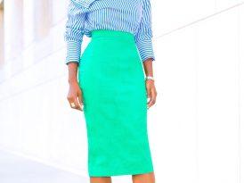 Striped Shirt + Pencil Midi Skirt