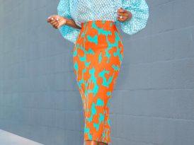 Balloon Sleeves Top + Printed Pencil Skirt