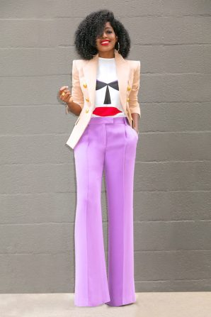 Double Breasted Blazer + Silk Mask Tee + Wide Leg Pants