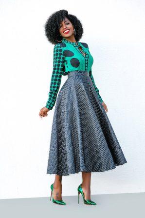 Multi Polka Dot Shirt + Textured Dotted Midi Skirt