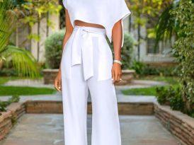 Side Slit Crop Top + High Waist Belted Pants