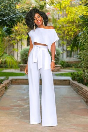 Side Slit Crop Top + High Waist Belted Pants
