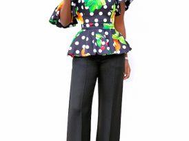 Dotted Off Shoulder Floral Peplum + High Waist Pants