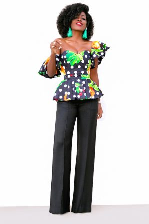 Dotted Off Shoulder Floral Peplum + High Waist Pants