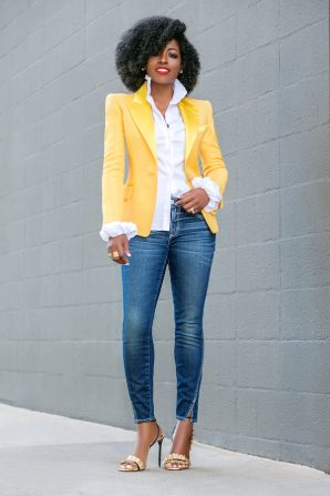 Structured Blazer + Ruffled Shirt + Amo Twist Jeans