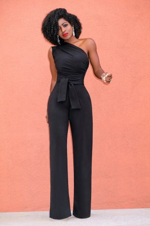 One Shoulder Drape Jumpsuit w/Belt